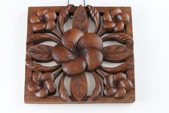 Wood Carved Plumeria Flower