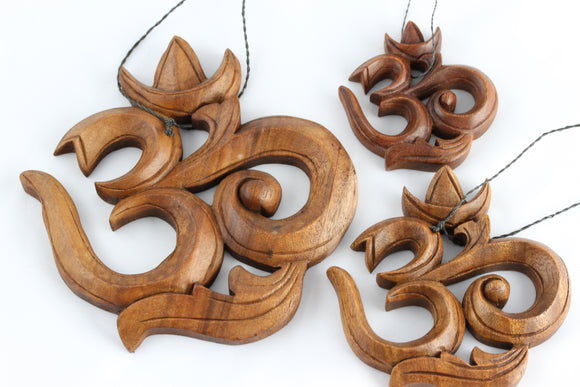 Wood Carved Om