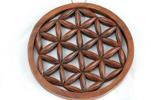 Wood Carved Flower of Life