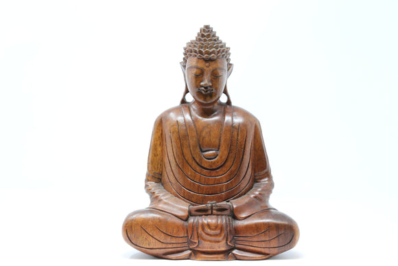 Hand Carved Wooden Meditating Buddha