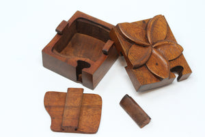 Plumeria Flower Wooden Puzzle Box