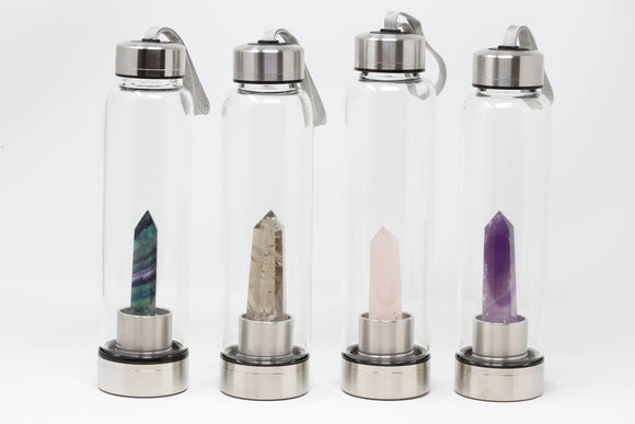 Crystal Wand Water Bottle- Natural Stone