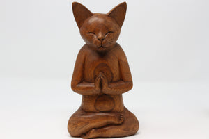 Meditating Cat Wood Figure