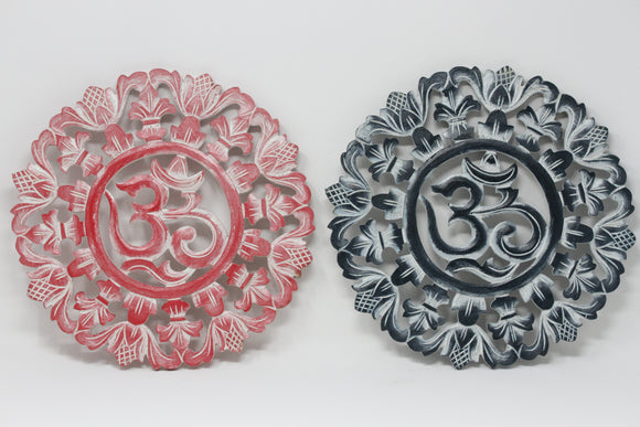 Om Wall Art- White Washed Carved Wood