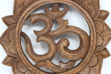 Om Lotus Petals Wood Carving