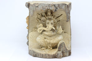 Hand Carved Wood Ganesh - Carved From Crocodile Wood Log