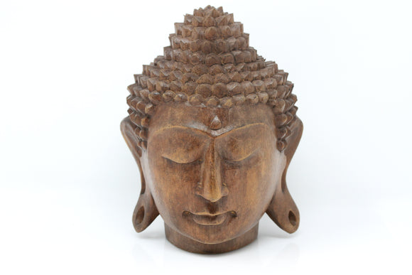 Solid Wood Buddha Head Statue