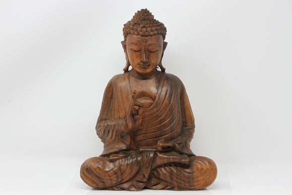 Meditating Buddha Carved Wood Statue