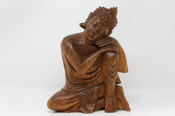 Resting Buddha Carved Wood Statue