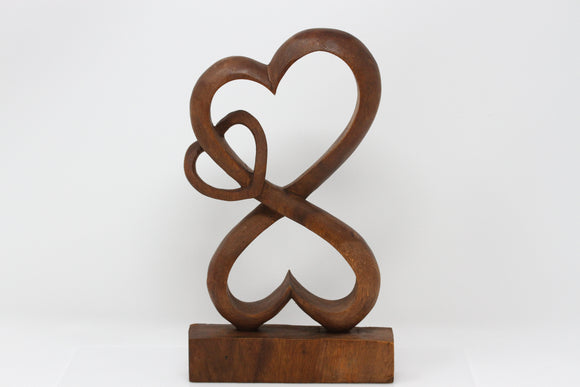 Infinity Hearts Wood Carving