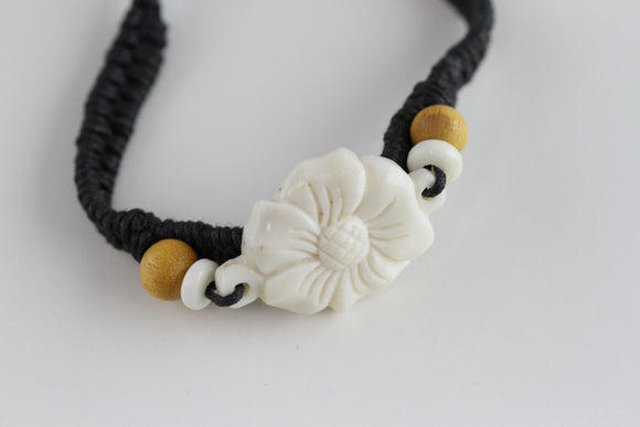 Hand Carved Flower Bracelet