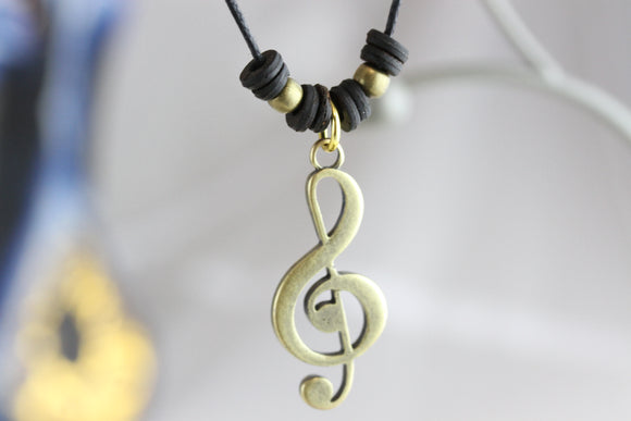 Music Note Brass Necklace