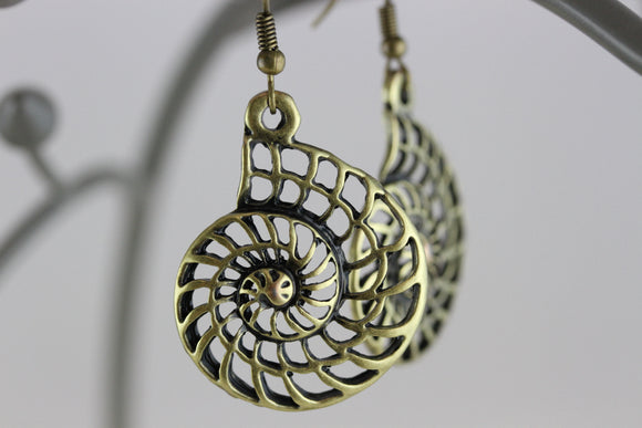 Nautilus Brass Earrings