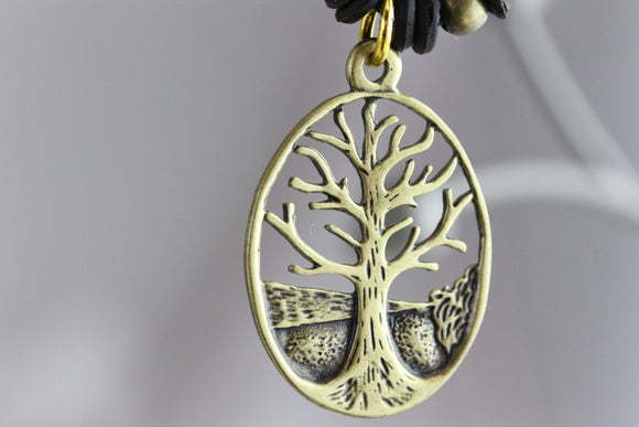 Deep Rooted Tree Brass Necklace