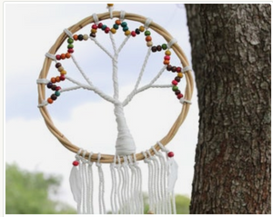 "Tree of Life Macrame Dream Catcher - 10"" Tree of Life Wall Hanging"
