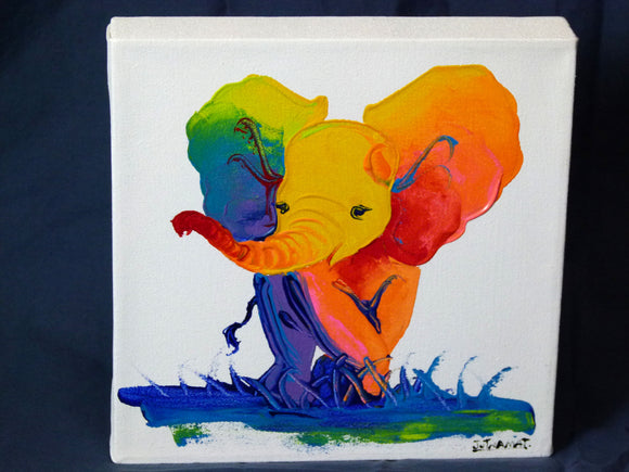 Rainbow Elephant Painting