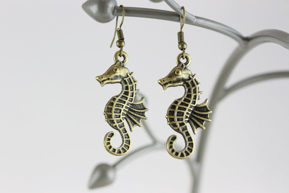 Seahorse Brass Earrings