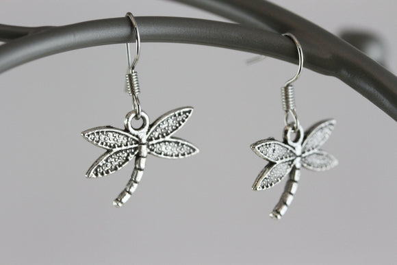 Dragonfly Rhodium Earrings