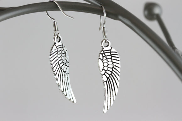 Angel Wings Rhodium Earrings