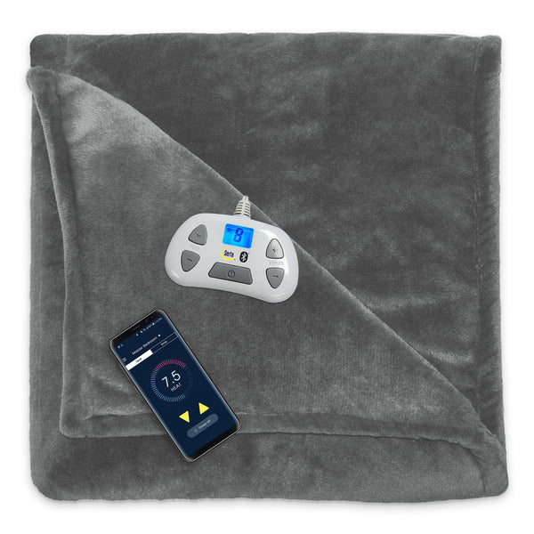 Serta Bluetooth Enabled Ultrasoft Plush Electric Heated Blanket, Pre-Heat Timer, 10 Heat Settings, Auto Shut-Off Safety Feature