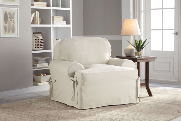Serta 100% Cotton Duck Relaxed-Fit Furniture Slipcovers, Box Cushion and T-Cushion, Sofa Slipcover, Loveseat Slipcover, Chair Slipcover, Rectangular or Round Ottoman Slipcover