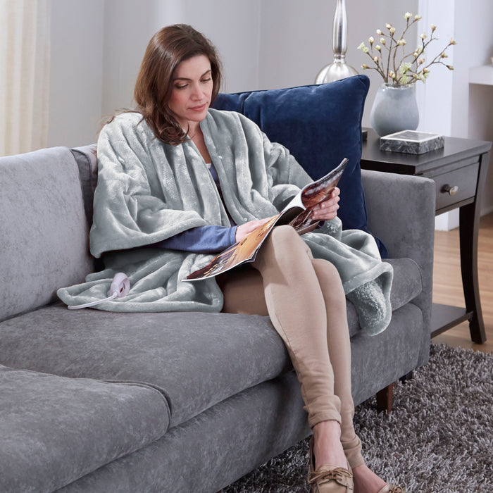 Serta Heated Snuggler Wrap Throw