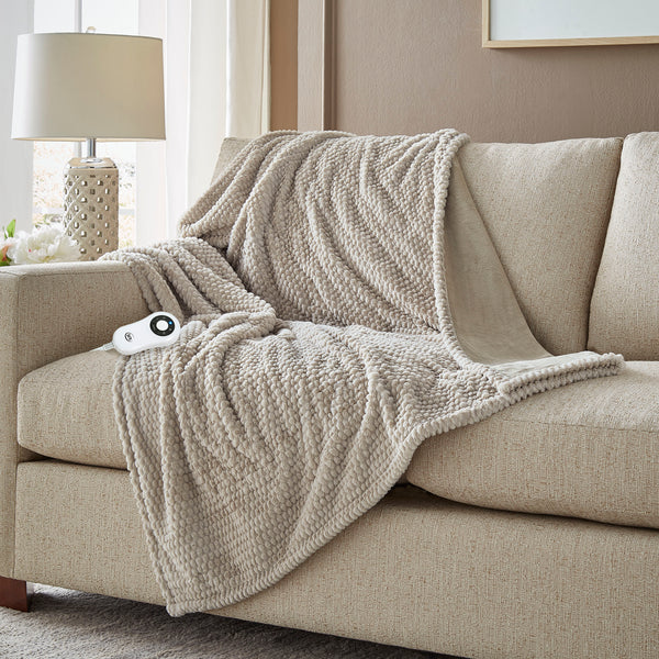 Serta Honeycomb Faux Fur Throw - with 5 setting controller