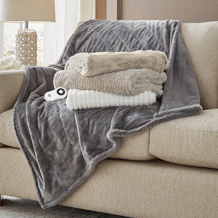 Serta® Honeycomb Faux Fur Throw - with 5 setting controller