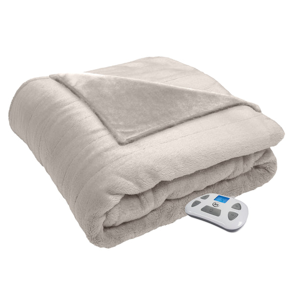 Serta Silky Plush Electric Heating Blanket, Programmable Controller with Timer, with Auto Shut-Off and Pre-Warming Technology