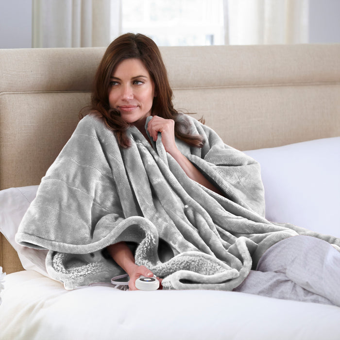 Serta® Heated Snuggler Wrap Throw - with 5 setting controller