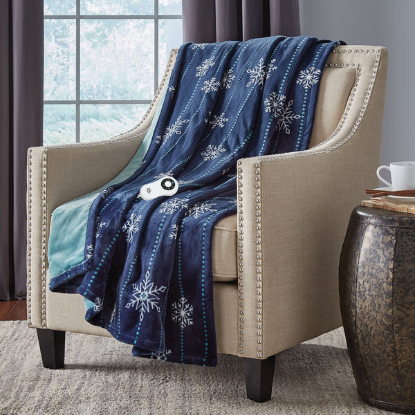 Serta Silky Plush Printed Throw - with 5 Setting Controller