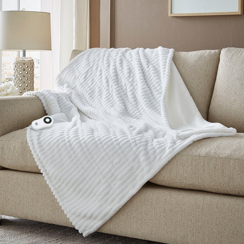 Serta Rabbit Faux Fur Throw - with 5 setting controller