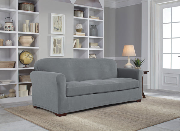 Serta Plush Textured Grid Pattern Spandex-Stretch Furniture Slipcovers, T-Cushion and Box Cushion, Sofa Cover, Loveseat Cover, Wingback Chair Cover, Recliner Chair Cover, Machine Washable