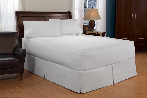 "Perfect Fit 100% Cotton Top, Soft Heat Waterproof Electric Warming Mattress Pad, Scotchguard Stain Repellent Finish, 11 Heat Settings, 10-hour Auto Shut-Off, Overheat Safety Feature, Safe and Warm Low Voltage and Invisiwire Technology, Fits 18"" Mattress"