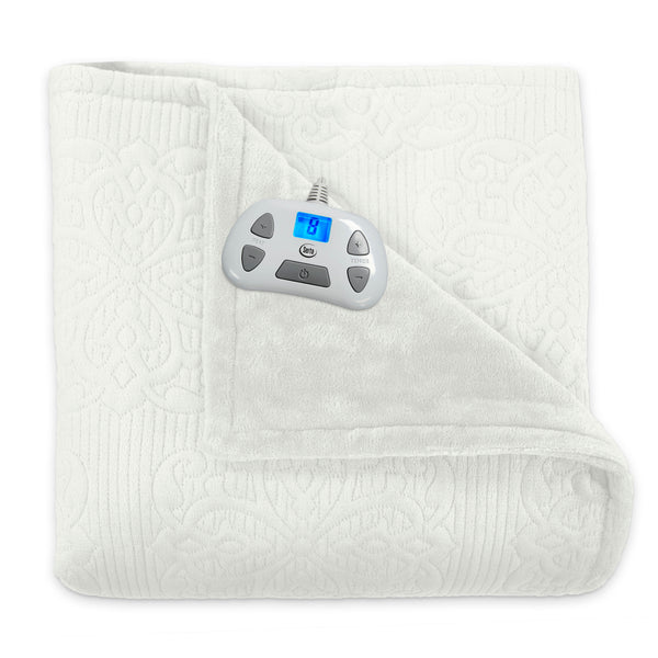 Serta Pinsonic Plush Reversible Heated Electric Blanket, Pre-Warming, 10-Hour Auto Shut-Off and Overheat Safety Feature, Programmable Controller with Timer