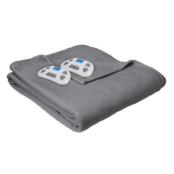 Serta Fleece Electric Warming Blanket, Pre-Warming and Auto Shut-Off Safety Feature, Programmable Controller with Timer