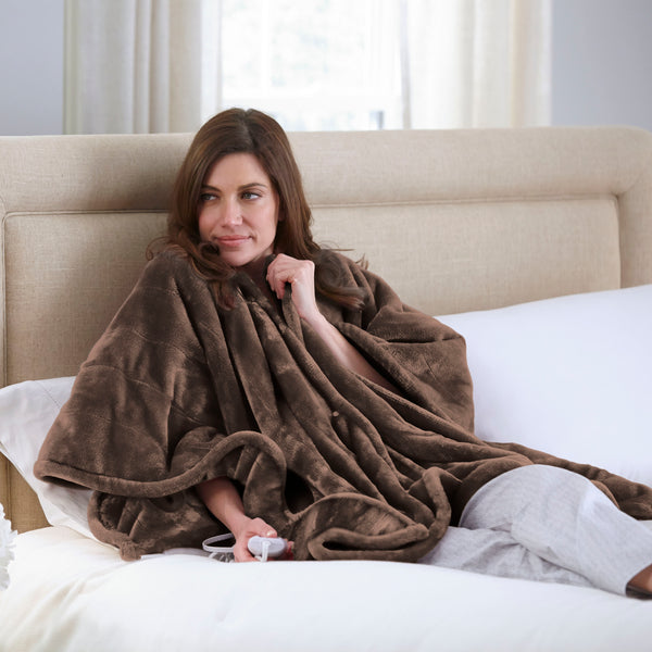 Perfect Fit Heated Snuggler Wrap Throw - with 4 Setting Controller