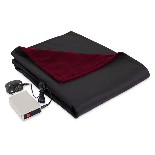 Serta On-the-Go, Rechargeable Battery Powered Throw, Reversible Fleece & Water Repellent Nylon, 3 Heat Settings