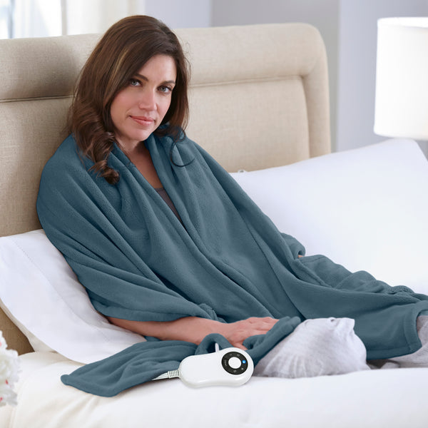 Perfect Fit Heated Cuddler Throw with pockets - with 5 Setting Controller