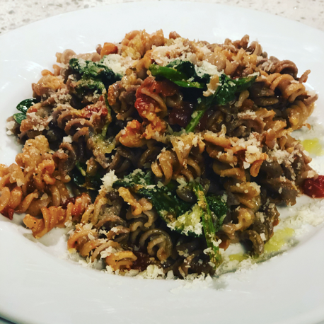Mushroom and Sage Rotini with Tomato and Spinach