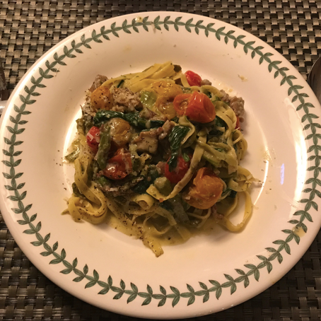 Pasta with Roasted Veggies and Olive Oil