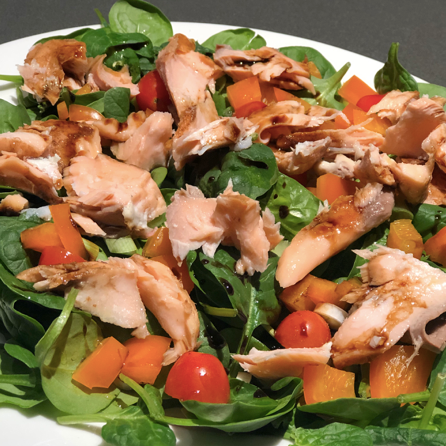 Fresh Spinach Salad with Blueberry Balsamic Glazed Salmon