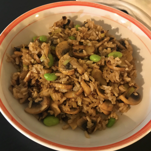 Stir Fried Rice and Mushrooms