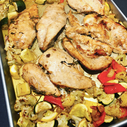 Garlic and Thyme Sheet Pan Chicken and Veggies