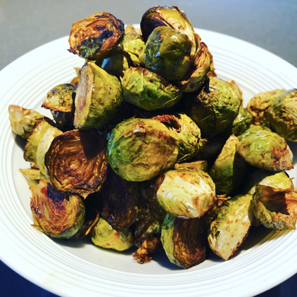 Harissa and Pomegranate Roasted Brussel Sprouts