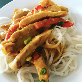 Sesame Peanut Chicken Stir-fry with Coconut Rice Noodles