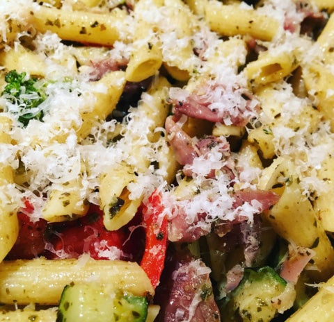 Tuscan Herb White Bean Pasta with Prosciutto and Parm
