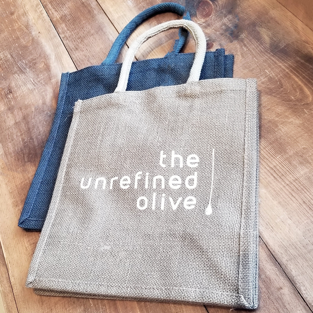 Jute gift bags for The Unrefined Olive in Kanata and The Glebe