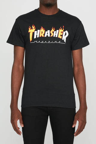 Thrasher Mens Black Flame Tee