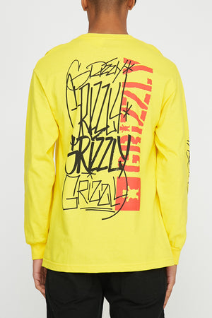 Grizzly Mens Bear Yellow Long Sleeve